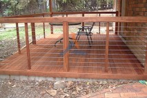 Ground level timber deck, stainless steel balustrade, Jamboree Heights