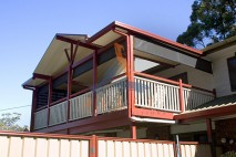 High level timber deck, timber balustrade, Shailer Park
