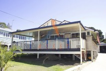 Low level timber deck, painted balustrade, Ipswich