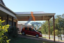 Dutch gable style carport, timber posts, Oxley