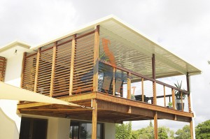High level timber deck with stainless balustrade, Manly West